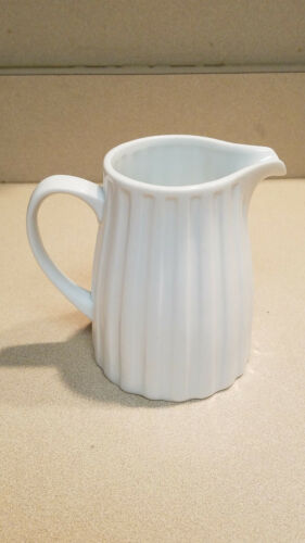 """NEW Crate /& Barrel White Embedded Ribbed Design 5/"""" Pitcher #572-144"""
