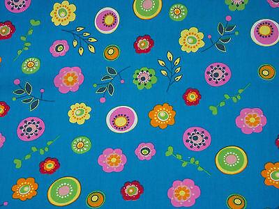 Stoff Baumwolle Deko Baumwolldruck Kinder blau Blumen bunt 30x145 cm Meterware