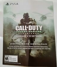 PS4 Call Of Duty Modern Warfare Remastered Full Game Voucher Card Only NEED DISC