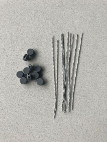 10 x Kunststoff 10 x 15 cm Plomben-Draht Plomben 9 mm grau Plastikplomben