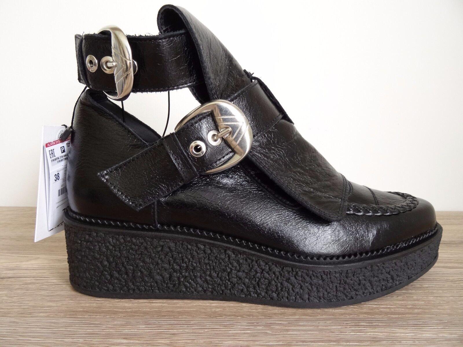 ZARA BLACK LEATHER FLAT ANKLE BOOTS WITH BUCKLES SIZE UK UK UK 2 (3) EU 35 (36) 616de7