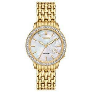 Citizen-Eco-Drive-Women-039-s-Diamond-Accents-Gold-Tone-29mm-Watch-EW2282-52D