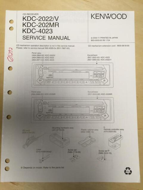 Kenwood Service Manual For The Kdc 2022  V 202mr 4023 Cd