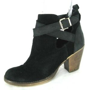 Steve-Madden-Bootie-Boots-Sz-38-7-7-5-Black-Suede-Heels-Ankle-Shoes-Women