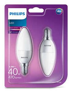 2-PK-Philips-Led-Esmerilado-E14-Blanco-Calido-40w-Bombilla-Vela-de-Rosca-Edison-470lm