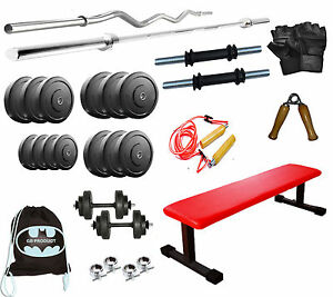 GB 32 Kg Home Gym Set Combo With Weight + Flat Bench + 5FT Rod + 3FT Rod + BAG