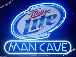 New-Miller-Lite-Man-Cave-Beer-Bar-Real-Glass-Neon-Light-Sign-FASt-FREE-SHIP-Gift