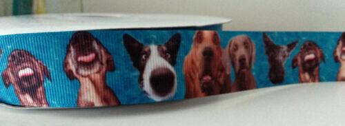 "1/"" 1 metre 25mm wide BLUE GROSGRAIN DOGS/'  HOUNDS PRINTED GROSGRAIN RIBBON"