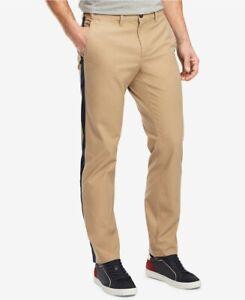 Nuevo Tommy Hilfiger Caqui Marron Custom Fit Pantalones Tipo Chino De Rayas Azul Tamano 36x30 Ebay