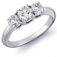 3 Stone Past Present Future Ring - Set In Shiny Stainless Steel - Beautiful