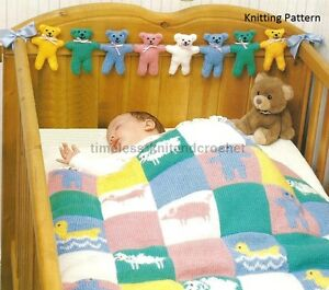 Knitting Patterns For Shawls And Wraps : KNITTING PATTERN FOR PATCHWORK COT COVER / BABY BLANKET & TEDDY BEAR TOY/...