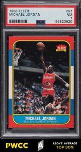 1986 Fleer Basketball Michael Jordan ROOKIE RC #57 PSA 7 NRMT (PWCC-A)