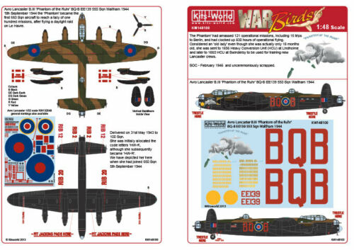"Kits World 148100-1:48 Avro Lancaster B.III /""Phantom of the Ruhr/"" Decalset"