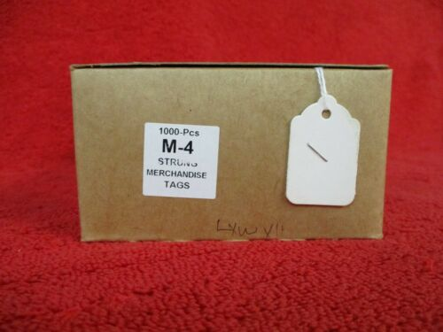 #4 WHITE MERCHANDISE TAG PRE-STRUNG BOX OF 1000