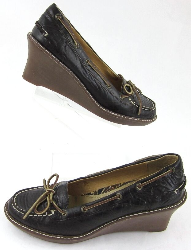 Sperry Top-Sider Wedges Boat schuhe Style braun Leather Sz 7M Worn 1X