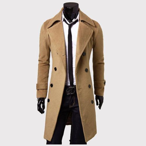 Mens Gentlemen Double Breasted Long Overcoat Trench Coat Jacket Outwear Winter