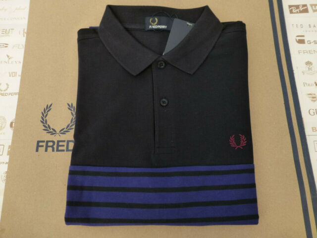 COLOUR.WHITE//NAVY FRED PERRY MENS LONG SLEEVED POLO SHIRT L BNWT SIZE