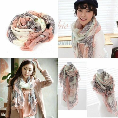 Elegant Women Long Print Cotton Scarf Wraps Shawl Large Silk Scarves