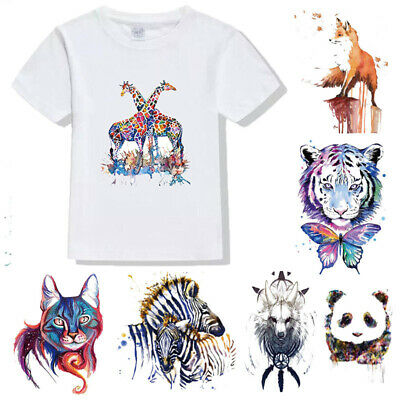 Wolf Unicorn Tiger Feather Patches Iron on Clothes Stickers DIY Thermal Transfer