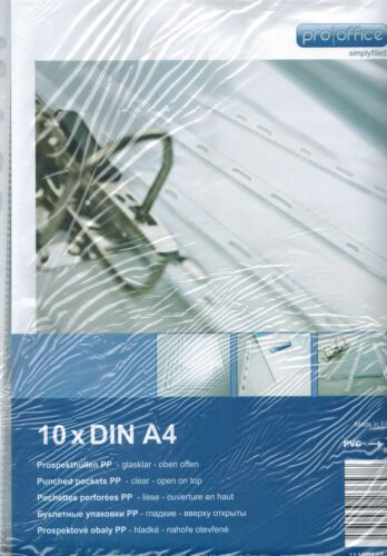 gelocht 10 Stück DIN A4 glasklar Prospekthüllen PP Folie