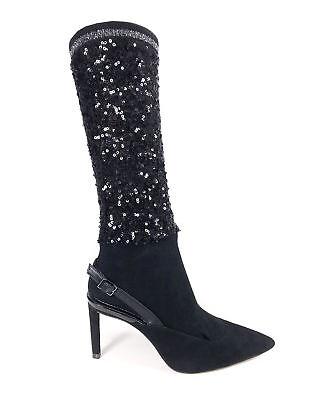 CHIC Escarpins Noir style nubuck avec effet chaussettes sequins ZARA 38 | eBay