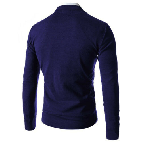 Men/'s Stylish Casual V-Neck Knitted Jumper Sweater Slim Fit Cardigan Knitwear