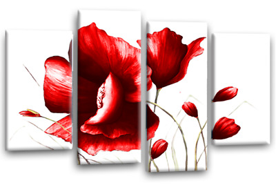 """Floral Flower Art Picture Red White Grey Love Tulip Split Panel Canvas Wall 44/"""""""