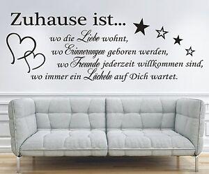 wandtattoo spruch zuhause ist wo die liebe freunde wandsticker wandaufkleber ebay. Black Bedroom Furniture Sets. Home Design Ideas