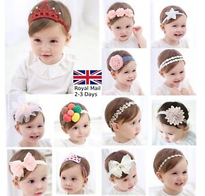 Baby Girls Bow Floral Crown Headband Alice Hair band Head Elastic ... 2196c57d9a5