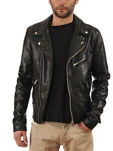 New Mens Genuine Lambskin Leather Slim Fit Biker Motorcycle Jacket for Men P089