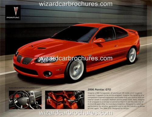 2006 PONTIAC GTO A3 POSTER AD SALES BROCHURE MINT ADVERT ADVERTISEMENT
