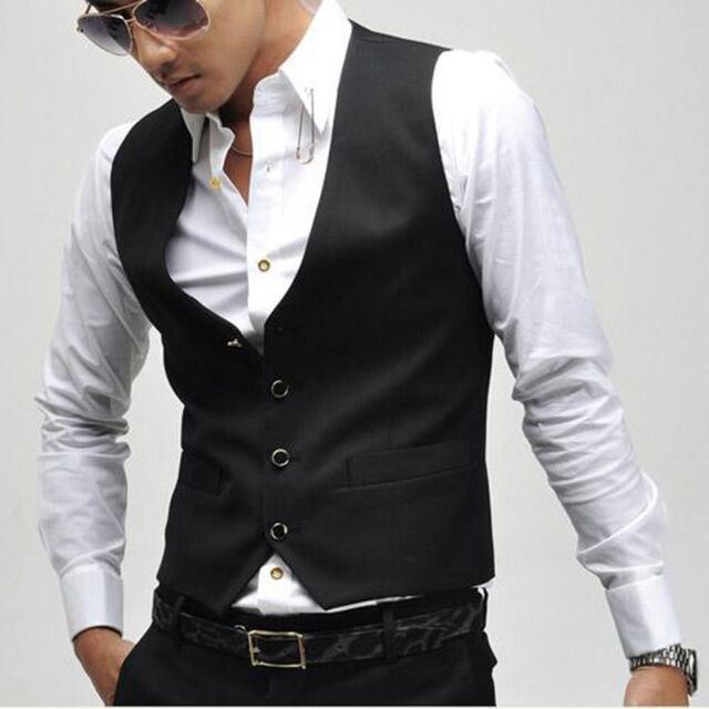 Fashion Men's Formal  Black Slim Fit Casual Business Vest Waistcoat Suits X-XXXL