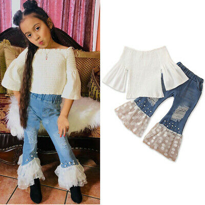 Toddler Baby Girl Denim Top T-shirt Wide Leg Flared Bell Bottom Pants Outfits