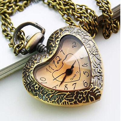 Retro Carving Bronze Heart Shape Quartz Pocket Watch Pendant Necklace Chain