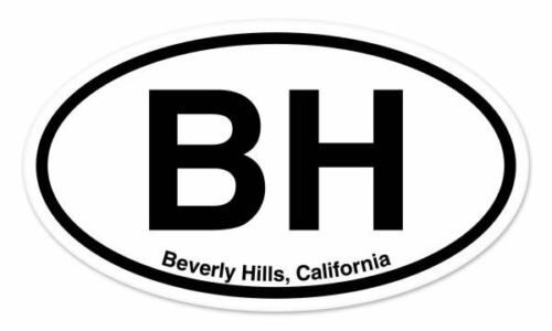 "BH Beverly Hills California Oval car window bumper sticker decal 5/"" x 3/"""