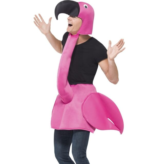 Adult Pink Flamingo Fancy Dress Costume Bird Suit 38-42