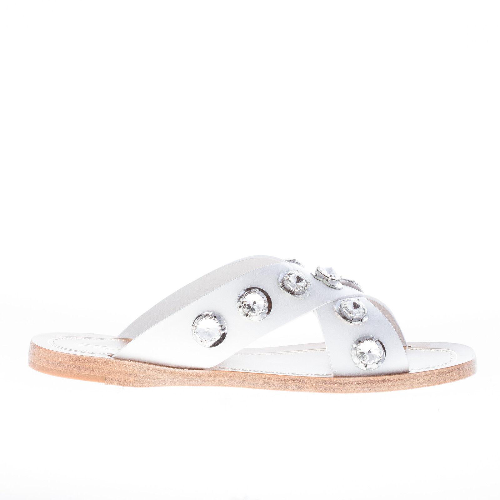 PRADA women shoes White leather crisscross slide sandal Crystal grommets