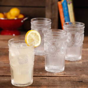 Set of 4 The Pioneer Woman Adeline 16-Ounce Emboss Glass Tumblers