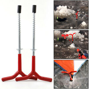 Image is loading 2x-Ice-Fishing-Rod-Holder-Fixed-Ice-Pitons-  sc 1 st  eBay & 2x Ice Fishing Rod Holder Fixed Ice Pitons Screw Tent Pegs Nail ...