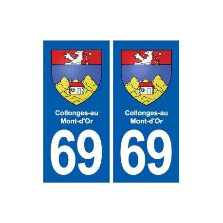 69 Collonges-au-Mont-d'Or blason autocollant plaque stickers ville droits