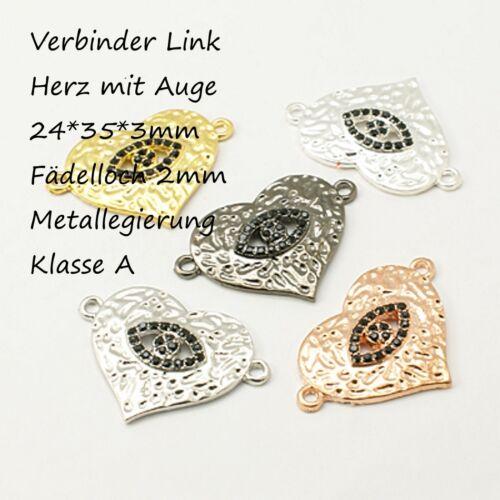 DIY Shamballa Link Zwischenstück Herz Auge Verbinder Bracelet eye Strass 24*35mm