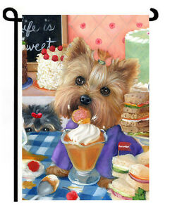 Image Is Loading Yorkie Painting GARDEN FLAG NEW 034 Yorkshire Pudding