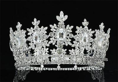 Men's Pageant Party Tiara Full Circle Round Silver King Crown Wedding T1827