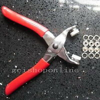 "Press Snap Fastener Plier stud Easy attaching 22 set Open ring 3/8"" Tool GBPPPP"
