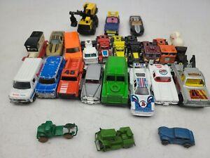 Vintage Lot of 24 Diecast Model Cars Majorette, Cast Iron, Tootsie Toy, Maisto