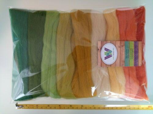 Harvest set* Pure  Merino Wool Tops Roving for Felting Orange Green Yellow 90 g