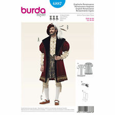 BURDA SEW PATTERN 6887 MENS RENAISSANCE COAT HAT STOCKINGS COSTUME SIZES 36-50