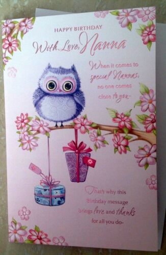 Nanna Birthday Card With Owls And Sentiment Verse