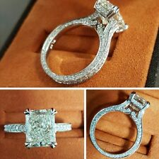 2.00ct Natural Radiant 3-Sided Eternity Pave Engagement Ring - GIA Certified