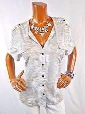 CHICO'S Sz 3 Top L XL Button Down Summer Shirt Casual Blouse Tan Gray White
